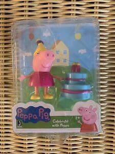 Peppa Pig CELEBRATE WITH PEPPA Birthday Play Figure Set *NEW*