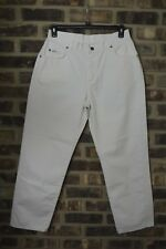 Vintage Lee Jeans High Waisted Tapered Ankle 80s Size 14  Mom Jeans White BC