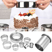 14Pcs Round Cookie Cake Cutter Mold Set Stainless Steel Pastry DIY Baking Moulds