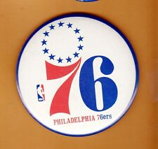 1970s PHILADELPHIA 76ers 3 1/2 inch PINBACK BUTTON UNSOLD STOCK