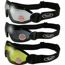 3 Sky Diving Goggles Clear Smoke Yellow Shatterproof Antifog Lens Global Vision