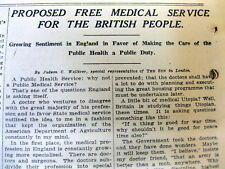 1916 newspaper w early Call for FORMATION of THE BRITISH NATIONAL HEALTH SERVICE