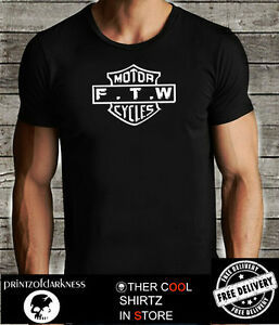 BLACK MENS   T Shirt  FTW Forever Two Wheels Distressed Graphic