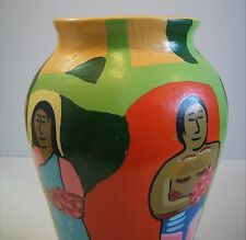 Rare Vintage Deco Style Folk Art Hand Painted Mexican Pottery Vase