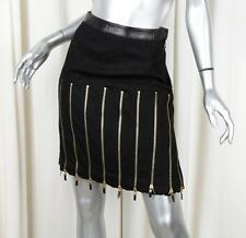ALEXANDER McQUEEN Womens Black Wool+Leather Zip Pleated A-Line Skirt 38/2