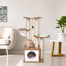New listing Cat Tree Cat Activity Play House with Sisal Scratching Posts Cat Condo Tower