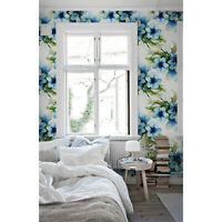 Aquarelle Flowers wall mural Watercolor removable wallpaper Floral decor