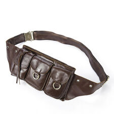 Brown Mens Leather Hip Waist Bum Bag Pouch Fanny Pack Utility Pocket Travel Bags