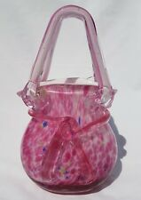 "Vintage Hand Blown Murano Style Art Glass Purse in Tortoise Shell Pink 9"" Tall"