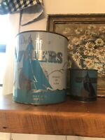 Vintage 1 Gallon Delicious Oysters Tin/Can Plus Bonus Smaller Can