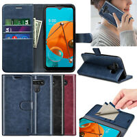 For LGK51/ Reflect /Q51 Case Leather Wallet Card Holder RFID Blocking Flip Cover