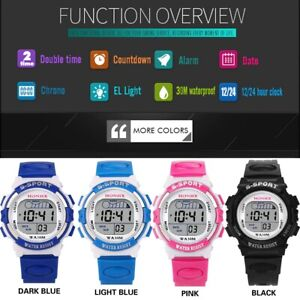 Girls Electronic Led Boys Digital Watch Kids Outdoor Sports Alarm Date From UK