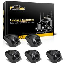 5 Smoke Roof Running Clearance Cab Markers Lights w/White 9LED Assembly for Ford