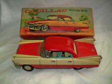 RARE TWO TONE 1950'S ANTIQUE JAPAN CADILLAC SEDAN DEVILLE TIN FRICTION CAR W/BOX