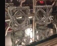 2 X FABULOUS NICKEL SILVER CHROME DIAMANTE DIAMOND SPARKLE CANDLE HOLDERS (PAIR)