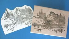 Lg MOUNTAIN SCENE Rubber Stamp TREES Scenery LAKE