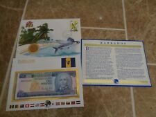 Coin Banknote and Stamp First Day Cover Set - Barbados