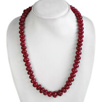 TRUELY EXCLUSIVE FASHION 496.00 CTS NATURAl RED RUBY ROUND BEADS NECKLACE STRAND