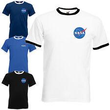 NASA Space Astronaut Ringer T-Shirt - Cool Geek Nerd Star Logo Unisex Mens Top