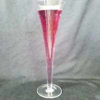 Pair Hand Blown Hollow Stem Glass Champagne Flutes Toasting Glasses Set 2