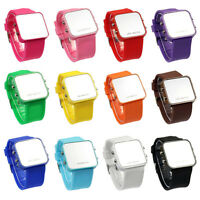 1PCS Classical 12 Mini Color Mirror Face LED Silicone Men Lady Watch Ornate