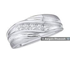 mens diamond .10 carats 10K white gold ring wedding band dress anniversary mans