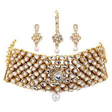 Jwellmart Indian Bollywood Gold Polish Kundan CZ Choker Jewelry Necklace Set