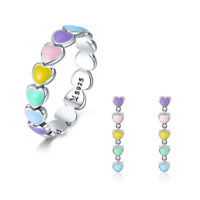 Colorful Rainbow Heart S925 Silver Fashion Ring & Earring Jewelry For Women New