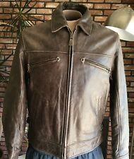 $499 NWOT - TIMBERLAND Distressed Brown LEATHER BOMBER Aviator JACKET Mens Large