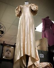 Antique Bonwit Teller Satin Puff Sleeve Victorian Wedding Dress