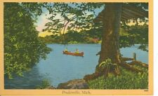 PRUDENVILLE,MICHIGAN-TWO MEN IN A RED CANOE-TREES-(70029)LINEN-(MICH-P#2*)