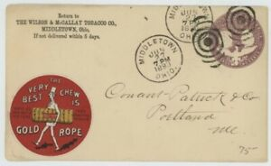 Mr Fancy Cancel 2c ENTIRE ILLUSTRATED AD COVER GOLD ROPE TOBACCO STICKER 1893