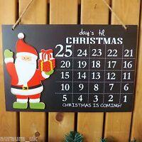 Days Until Christmas Decoration Santa Countdown Advent Calendar Chalk Blackboard