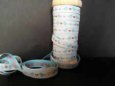Blue Bird & Red Heart Sass and Belle Woven Ribbon 15mm wide
