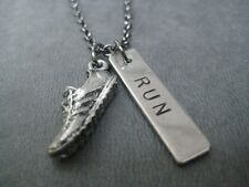 RUN RUNNER RUN~Running Necklace on 18 inch gunmetal chain~RUNNING JEWELRY