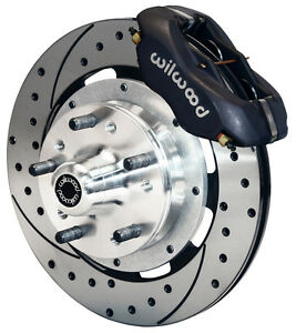 """WILWOOD DISC BRAKE KIT,FRONT,37-48 FORD,12"""" DRILLED ROTORS,BLACK CALIPERS"""