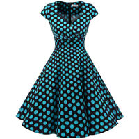 1950s Vintage Dress Women Retro Rockabilly Evening Party Dress with Cap-Sleeves