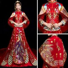 Chinese Traditional Dress Red Long Cheongsam Embroidery Qipao Peacock Costume