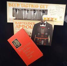 WEMCO BEER TASTING Set 4 Glasses, BARTENDER APRON, Mr. Boston Bartender's Guide