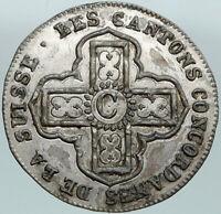 1828 SWITZERLAND Swiss Canton of VAUD Antique 1 Batzen Silver Coin SHIELD i87522