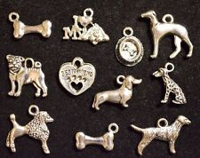 11 piece Set DOG CHARMS 12mm-18mm Antiqued Tibetan Silver 2-sided