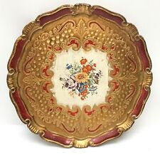 Vintage Italian Red Gold Gilt Florentine Round Tray Platter Floral Wood 13""