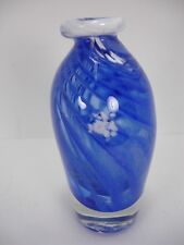 SIGNED CLEAR BLUE WHITE SWIRL HAND BLOWN GLASS VASE