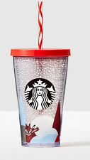 NEW IN BOX 2016 STARBUCKS HOLIDAY ACRYLIC WINTER RED FOX 16OZ CUP WITH STRAW