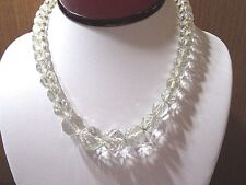 VINTAGE ART DECO STRAND OF MULTIFACETED GRADUATED CHUNKY CRYSTAL BEADS NEKCLACE