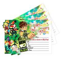 20 x Ben 10 Birthday Party Invitations Invites Cards Kids Girls Boys Children