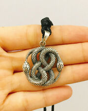 Ouroboros Serpent Swallowing Snake 925 Sterling Silver Necklace Pendant Jewelry