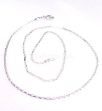 "Real White Gold Plated Men Women Chain 45cm Necklace 17.5 "" 1mm Small Part Style"