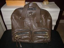 Chloe Brown Leather Silver Tone  Satchel Handbag