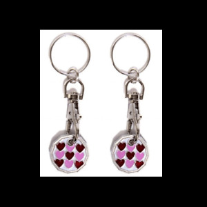 2 X Multi Heart New Shape One Pound £1 Coin Token Keyring Shopping Trolley Gift